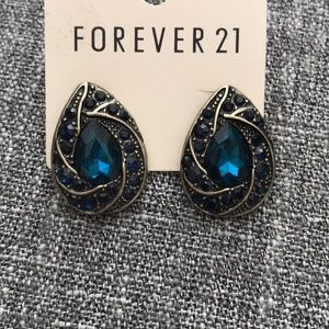 NWOT Blue & Gold Costume Earrings